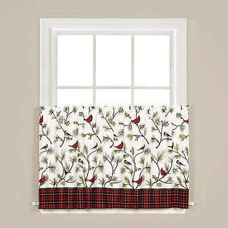 SKL Home Winter Birds 24 in. Tier Pair Curtains, T7159500024T09