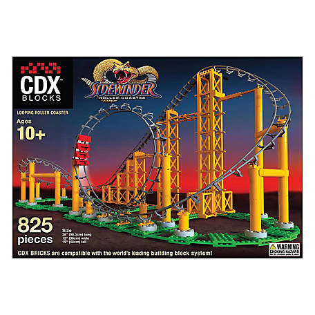 CDX Blocks Brick Construction Sidewinder Roller Coaster Building Set, CDX-SWR01