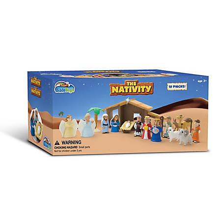 BibleToys Nativity Play Set for Children. 19 pc. Includes Mary, Joseph, Baby Jesus,  Christmas Toys for Children, CGD8220