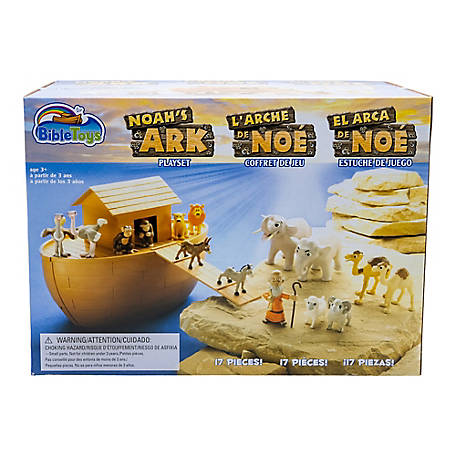 BibleToys Noah's Ark 18 pc. Playset with Noah, 14 Animals and Floating Ark - Christian Based Faith Children Toys, CGD8222