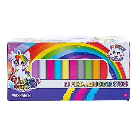 Forever Clever Unicorn Magic Jumbo 60 pc. Box of Sidewalk Chalk, CT-FC2528