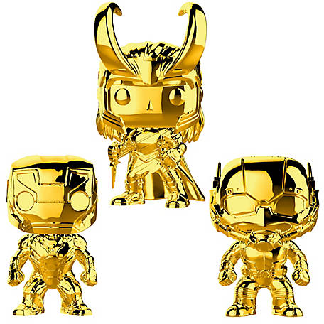 Funko POP! Marvel Studios 10 Gold Chrome Collectors Set 1 - Iron Man, Ant-Man, Loki, G847944002734