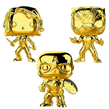 Funko POP! Marvel Studios 10 Gold Chrome Collectors Set 2 - Black Widow, Black Panther, Captain America, G847944002741