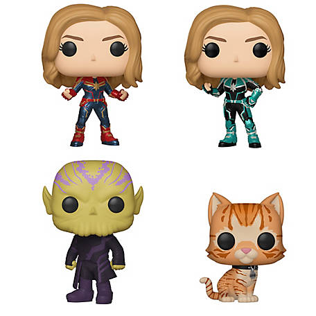 Funko POP! Marvel Captain Marvel Collectors Set - Captain Marvel, Vers, Talos, Goose the Cat, G847944003168