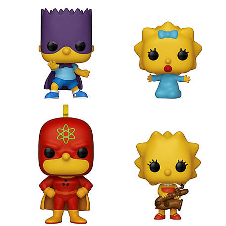 Funko POP! Animation Simpsons Collectors Set 1 - Homer Radioactive Man, Bart Bartman, Lisa with Saxophone, Maggie, G847944003458
