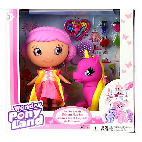 Wonder Pony Land Girl Doll with Unicorn and Hairplay accessories, 17450