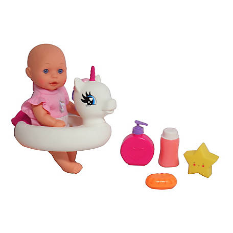 Dream Collection Dream Collection Bath Time 12 in. Baby Doll with Unicorn Floatie, 17430