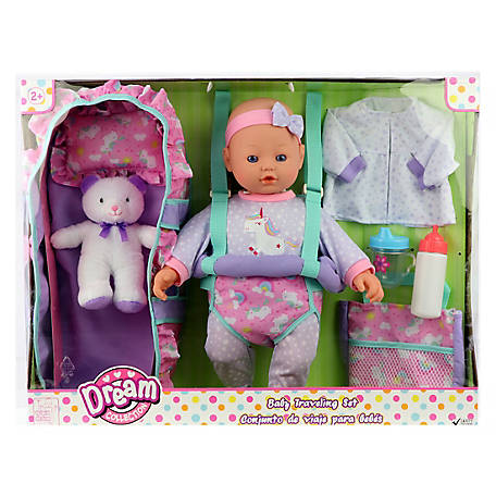 Dream Collection 16 in. Baby Doll Travelling Set - Blue, 17235A