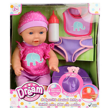 Dream Collection 12 in. Baby Doll with Musical Potty - Pink, 17148A