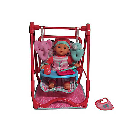 Dream Collection 12 in. Baby Doll 4-In-1 High Chair Play Set, 17232