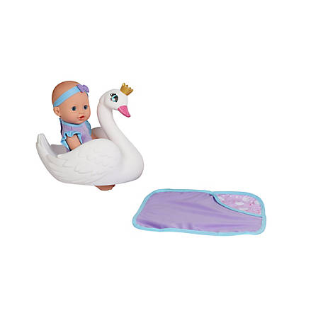 Dream Collection 10 in. Pretend Play Bath Time Baby Doll with Swan Float, 18140