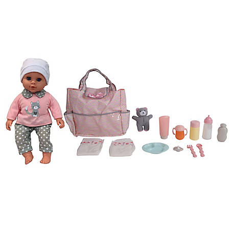 Dream Collection 16 in. Pretend Play Baby Doll with Diaper Bag & Accessories Set, 19104