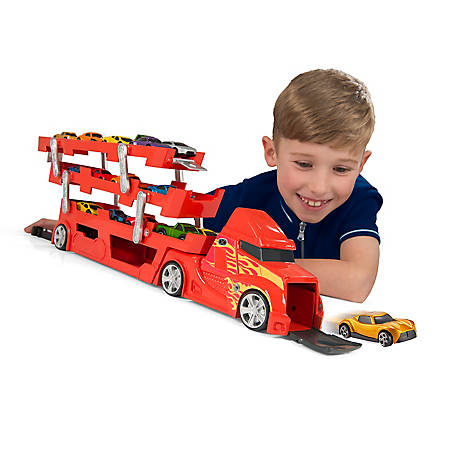 Speedsterz 37 Car Transporter/Car Hauler Play Set with Launcher - Includes 10 Realistic Die Cast Cars, 1416578.USA