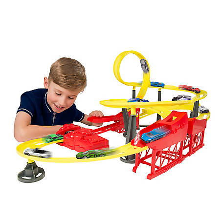 Speedsterz Typhoon Stunt Race Track Play Set - Includes 10 Realistic Die Cast Cars, 1416580.USA