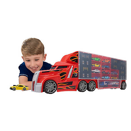 Speedsterz 44 Car Stunt Transporter/Car Hauler Play Set with Retractable Handle & Built-In Speed Ramp, 1416873.USA