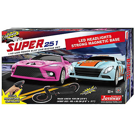 JOYSWAY JOYSWAY Super 251 1:43 Scale USB Power Slot Car Racing Set, 2251