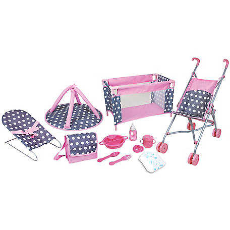 Lissi 5 pc. Baby Doll Deluxe Nursery Play Set with 8 Accessories, 12566