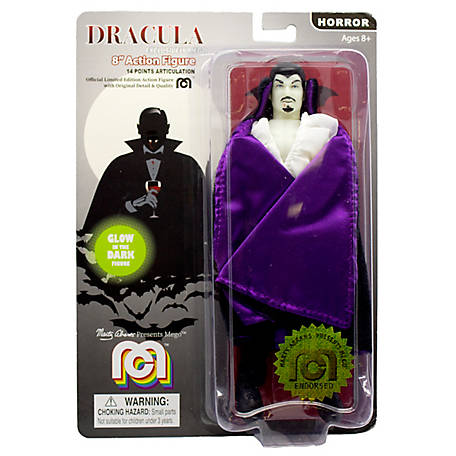 Mego Action Figure, 8 in. New Mego Glow in the Dark Dracula with Purple Cape (Limited Edition Collector's Item), 62971