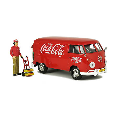 Coca-Cola 1/24 Scale 1963 Volkswagen T1 Diecast Cargo Van with New Delivery Driver, Handcart & 2 Bottle Cases, 424062