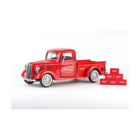 Coca-Cola 1/24 Scale 1937 Ford Diecast Pickup Truck with 6 Bottle Cartons (Collectible Toy Vehicle), 424065