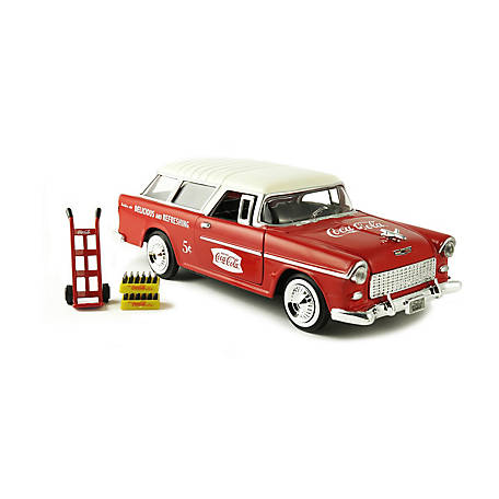 Coca-Cola 1/24 Scale 1955 Chevy Nomad Diecast Station Wagon with Metal Handcart & 2 Bottle Cases, 424110