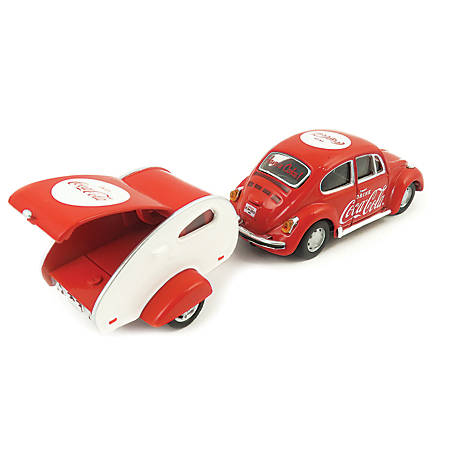 Coca-Cola 1/43 Scale 1967 VW Beetle Diecast Car with Teardrop Trailer (Collectible Toy Vehicle), 440032