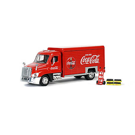 Coca-Cola 1/50 Scale Beverage Delivery Diecast Truck with 2 Sliding Doors, Handcart and 2 Bottle Cases, 450060