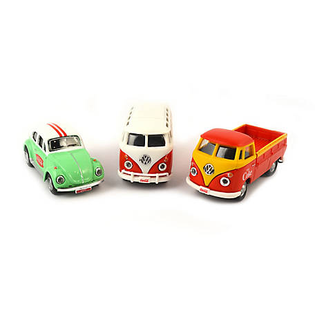 Coca-Cola 1/72 Scale VW Diecast Cars 3 Pack: Samba Bus, Beetle, T1 Pickup (Collectible Toy Vehicle), 458385