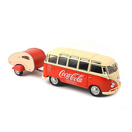 Coca-Cola 1/43 Scale 1962 VW Samba Diecast Bus with Trailer: Celebrating 100 Years of the Contour Bottle Set, 467433