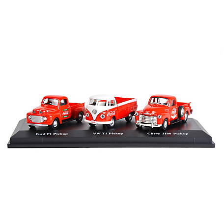 Coca-Cola 1/72 Scale Classic Pickups Diecast Set: 1948 Ford F1, 1962 Volkswagen T1 & 1953 Chevrolet 3100 Pickup Trucks, 472100