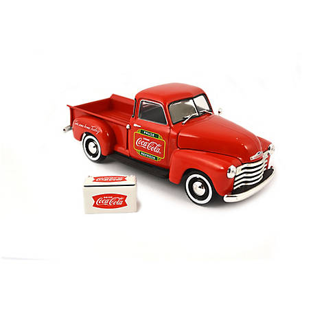 Coca-Cola 1/43 Scale 1953 Chevy Diecast Pickup with Metal Cooler (Collectible Toy Vehicle), 478104