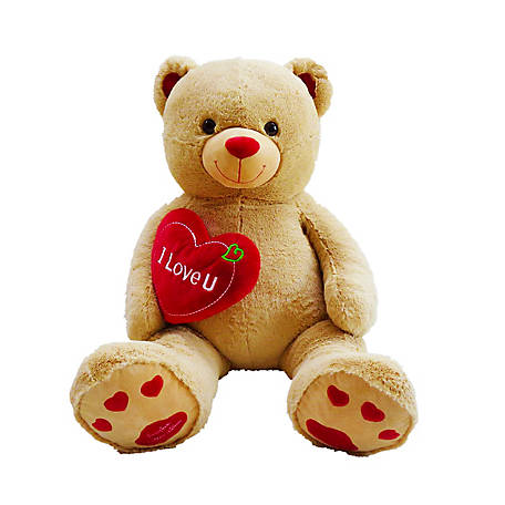 Pioupiou Jumbo 48 in. Plush Teddy Bear with 'I Love You' Heart (Birthdays, Valentines Day, Engagements, Mother's Day), 16365
