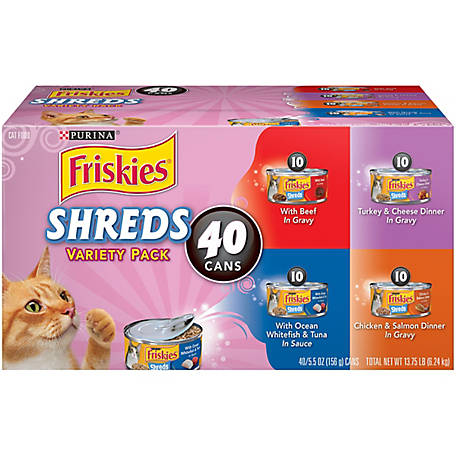 Friskies 5.5 oz Shreds Wet Cat Food, 40 Pack, 50680, 13.75 lb.