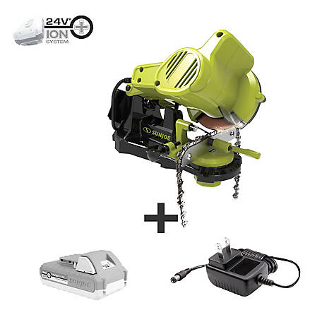 Sun Joe 24-Volt Ion+ 2.0-AH Cordless Chainsaw Sharpener, 24V-CSSHRP-LTE
