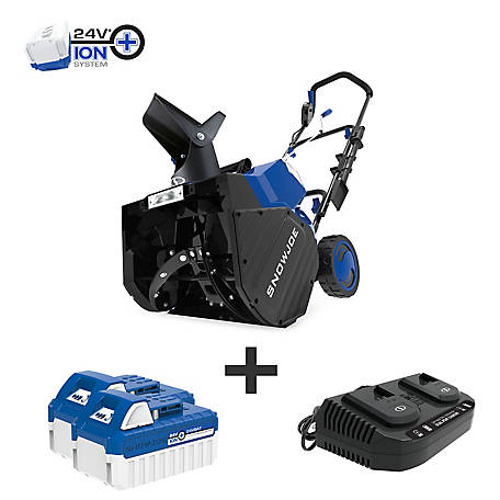 Snow Joe 48-Volt iON+ 18 In. Cordless Snow Blower Kit, 24V-X2-SB18