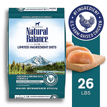 Natural Balance L.I.D. Limited Ingredient Diets Dry Dog Food, Chicken & Brown Rice Formula, 26 lb.