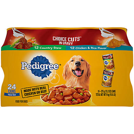 PEDIGREE CHOICE CUTS IN GRAVY Wet Dog Food Variety Pack, Country Stew and Chicken & Rice Flavor, 24 ct. 13.2 oz. Cans, 19.8 lb.