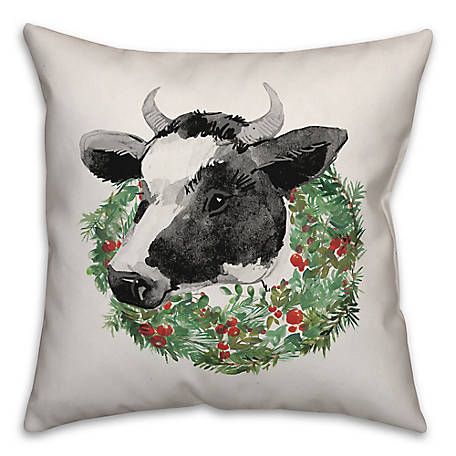 Designs Direct Christmas Cow 18 in. x 18 in. Throw Pillow, 5704-G