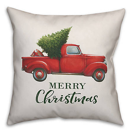 Designs Direct Xmas Red Truck 18 in. x 18 in. Throw Pillow, 5825-H2
