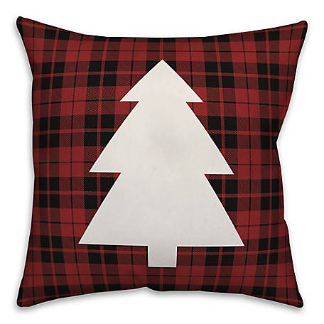 Designs Direct Plaid Christmas Tree 18 in. x 18 in. Throw Pillow, 5855-AB2