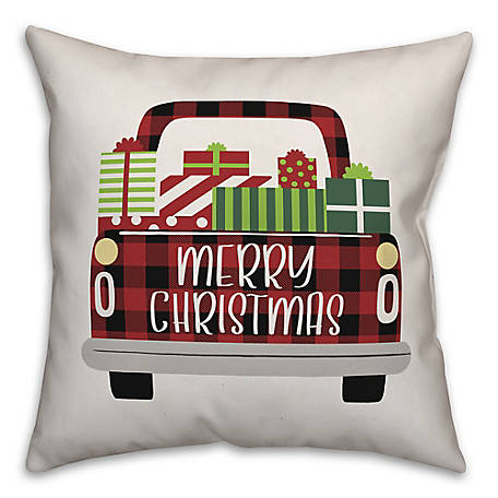 Designs Direct Plaid Christmas Truck 18 in. x 18 in. Throw Pillow, 5855-E2