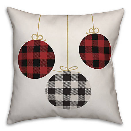 Designs Direct Plaid Ornaments 18 in. x 18 in. Throw Pillow, 5855-O2