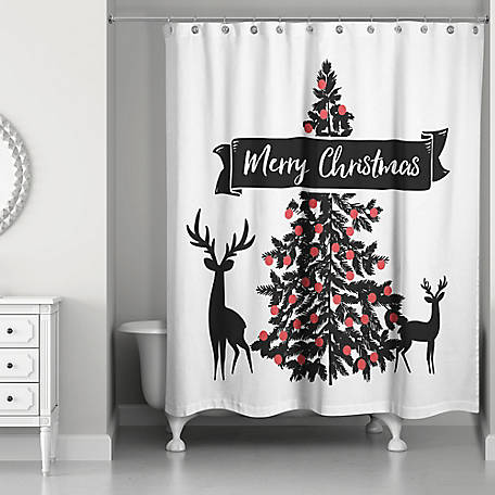 Designs Direct Moody Merry Christmas Shower Curtain, 5704-AB