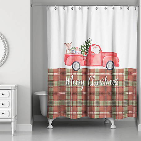 Designs Direct Plaid Christmas Truck Shower Curtain, 5707-AL