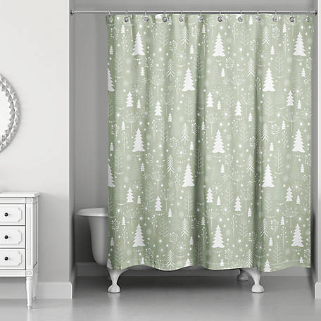 Designs Direct Tree Pattern Shower Curtain, 5814-AO