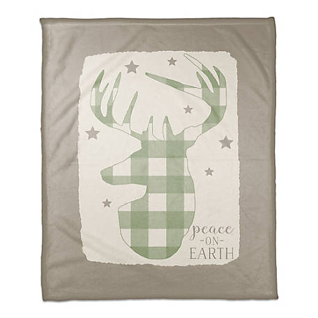 Designs Direct Plaid Deer Throw Blanket, 5814-AT