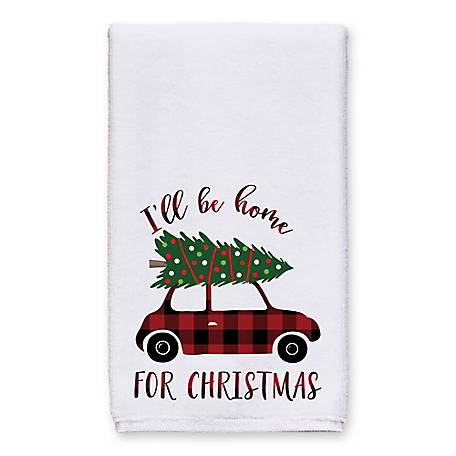 Designs Direct Ill Be Home for Christmas - Plaid Towel, 5868-J