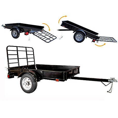 DK2 Power 4 ft. x 6 ft. Utility Trailer Kit Black Powder Coated with Drive-Up Gate, MMT4X6