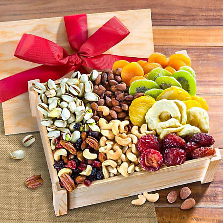 Golden State Fruit Dried Fruit and Nuts Gift Crate with Lid, AC2020