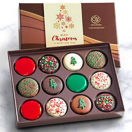 CY Chocolates Holiday Delux Chocolate-Dipped Oreos in Gift Basket, ACC1010X